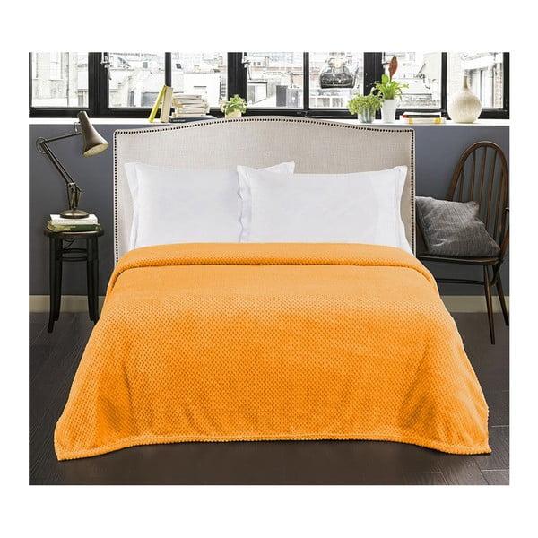 Pomarańczowy koc z mikrowłókna DecoKing Henry, 220x240 cm
