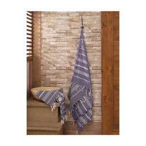 Komplet granatowego ręcznika i ręcznika kąpielowego Hammam Sultan