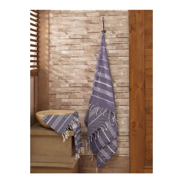 Zestaw 2 ciemnoniebieskich ręczników Hammam Sultan