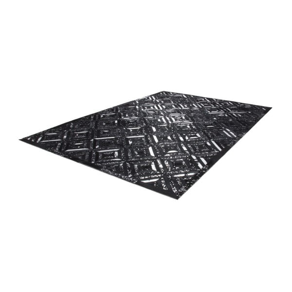 Srebrno-czarny skórzany dywan Daz, 120x170cm