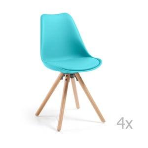 Zestaw 4 turkusowych krzeseł do jadalni z drewnianymi nogami La Forma Lars