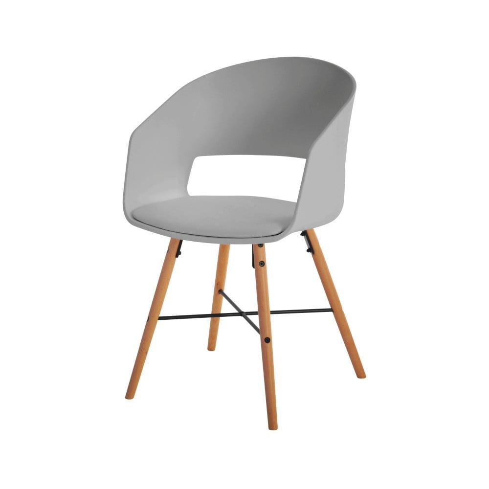 Szare krzesło do jadalni z bukowymi nogami Interstil Luna