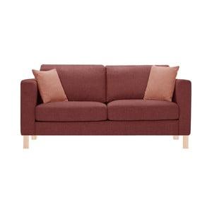 Różowa sofa trzyosobowa z 2 pomarańczowymi poduszkami Stella Cadente Canoa