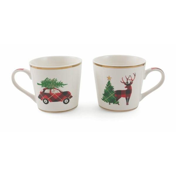 Zestaw 2 świątecznych filiżanek z porcelany kostnej Villa d'Este XMAS Macchina-Renna, 400 ml