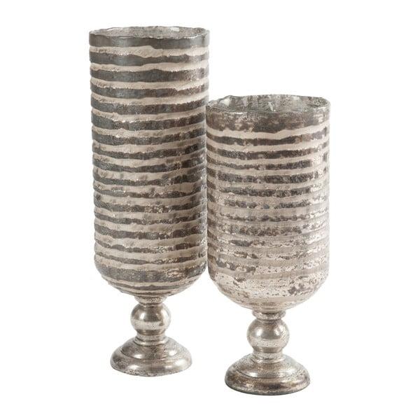 Srebrny wazon na nóżce Stripe