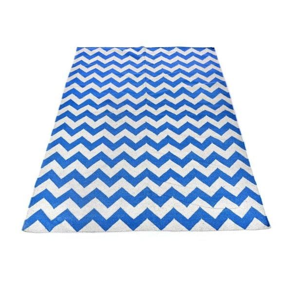 Dywan wełniany Geometry Zic Zac Sea Blue & White, 160x230 cm