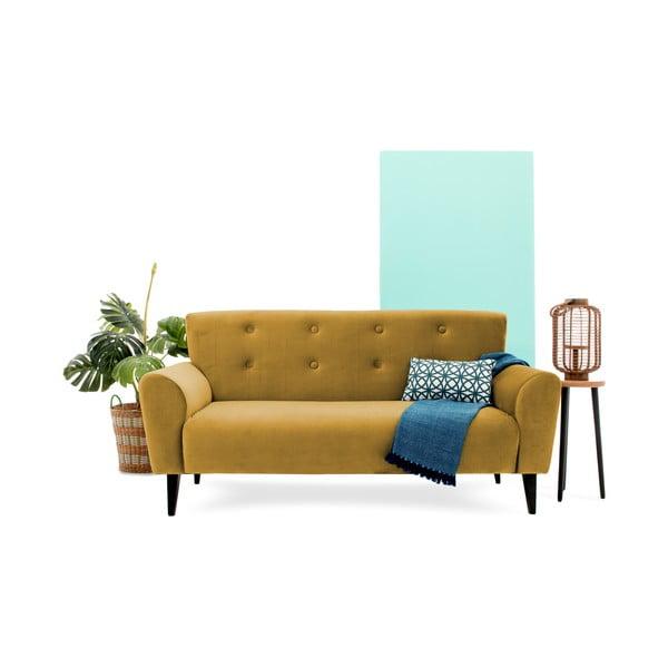 Musztardowa sofa trzyosobowa Vivonita Klara