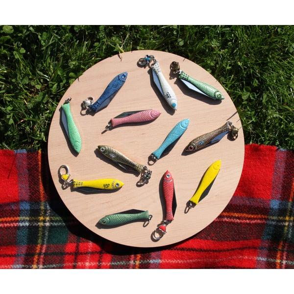 Scyzoryk rybka, lakier ecru ze zdobieniami