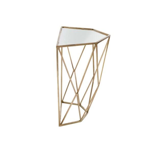 Złota konsola z lustrzanym blatem J-Line Geometry