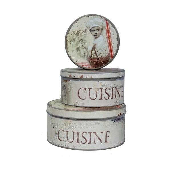 Zestaw 3 pojemników okrągłych Antic Line Cuisine