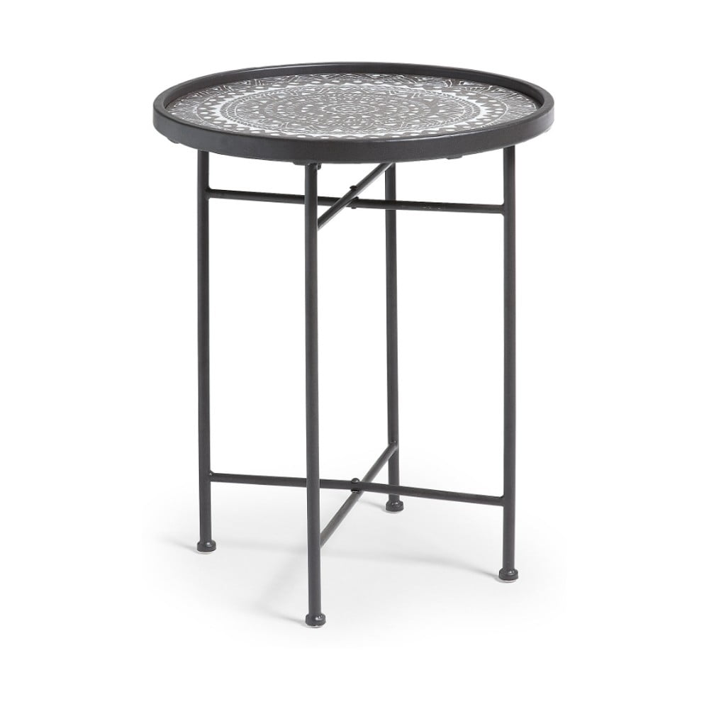 Czarny stolik metalowy La Forma Adri, ⌀45cm