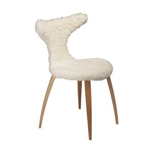 Białe krzesło ze skórzanym siedziskiem DAN-FORM Denmark Dolphine