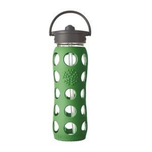 Szklana butelka na wodę ze słomką w silikonowym rękawie Lifefactory Grass, 650 ml