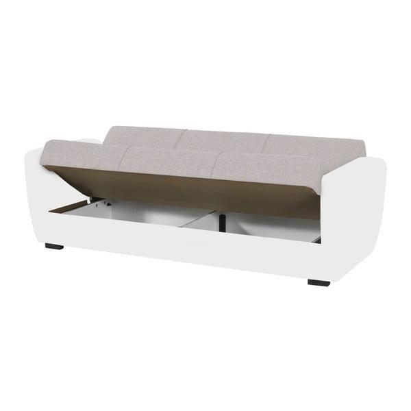 Biało-kremowa trzyosobowa sofa rozkładana ze schowkiem Esidra Comfort