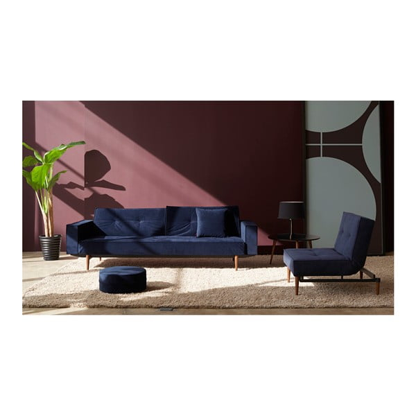 Ciemnoniebieski rozkładany fotel Innovation Splitback Velvet Dark Blue