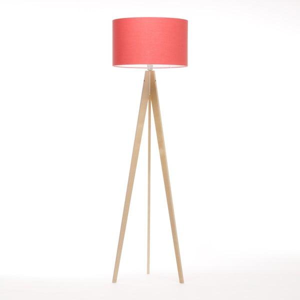Lampa stojąca Artist Coral Red Linnen/Birch Natural,, 125x42 cm