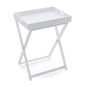 Drewniany stolik z tacą White, 49x37x65 cm