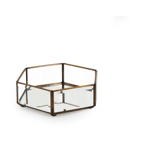 Pojemnik szklany z detalami z brązu Moycor Bisel, 16x6 cm