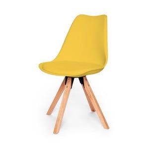Żółte krzesło z konstrukcją z drewna bukowego loomi.design Eco