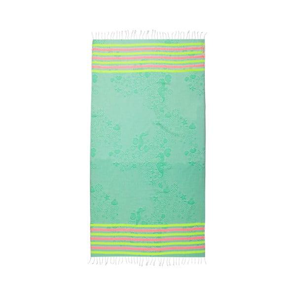 Ręcznik hammam Undersea Green, 105x175 cm