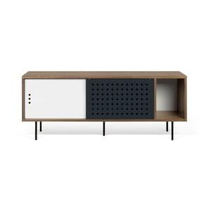 Stolik pod TV w kolorze orzecha z czarno-białymi elementami TemaHome Dann Dots, dł. 165cm