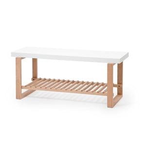 Ławka z drewna dębowego z białym blatem Wireworks Benchie