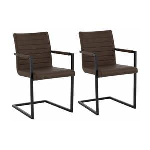 Zestaw 2 ciemnobrązowych krzeseł z podłokietnikami Støraa Sandra