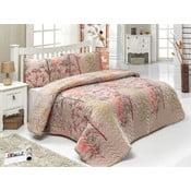 Pikowana   narzuta na łóżko z poszewkami na poduszki Twin Brown, 200x220 cm