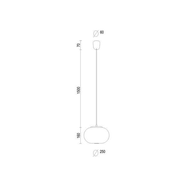 Szklana lampa wisząca z białą oprawką Sotto Luce DOSEI