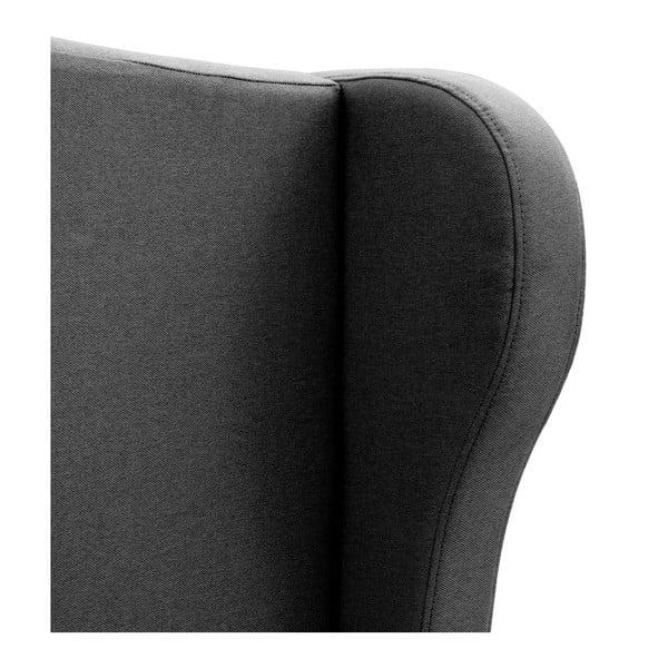 Ciemnoszare łóżko z czarnymi nóżkami Vivonita Windsor, 180x200 cm