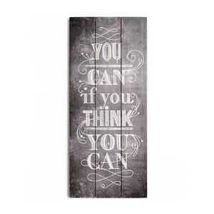 Obraz z drewna Graham & Brown You Can,30x70cm