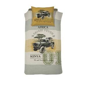 Bawełniana pościel jednoosobowa Damai Khaki Kenia, 200x140cm