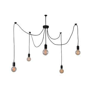 Czarna lampa wisząca z 5 żarówkami Filament Style Spider Lamp