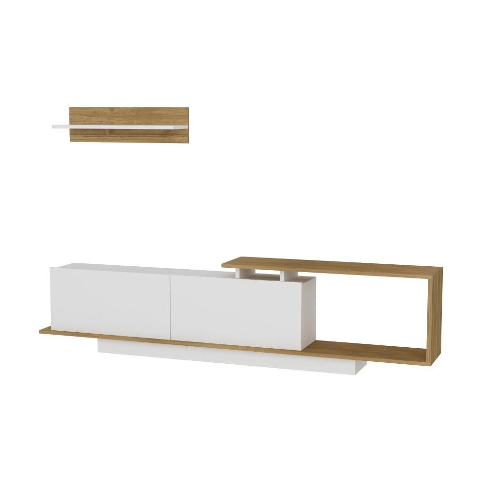 Komplet białej szafki pod TV i półki z dekorem drewna orzechowego Asos