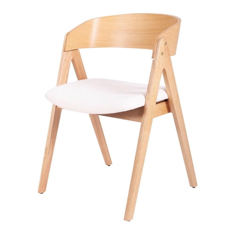 Zestaw 2 krzeseł do jadalni z drewna kauczukowca z białym siedziskiem sømcasa Rina