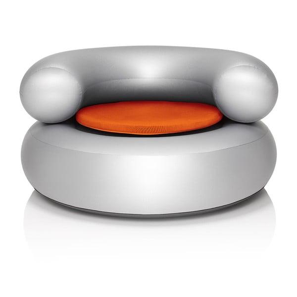 Fotel dmuchany CH-AIR, srebrny z pomarańczową poduszką