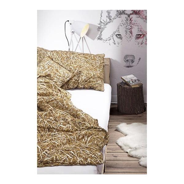 Pościel jednoosobowa z domieszką bawełny Foonka Słoma, 140x200cm