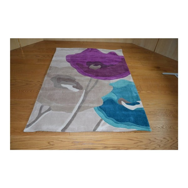 Dywan Poppy Flowers Teal Purple, 80x150 cm