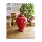 Czerwony pojemnik ceramiczny z pokrywką Orchidea Milano, 30 cm
