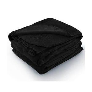 Czarny koc z mikrowłókna AmeliaHome Tyler, 70x150 cm