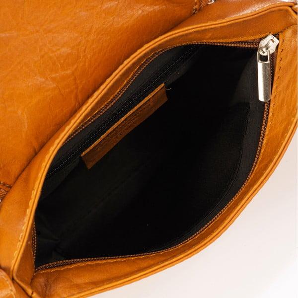 Jasnobrązowa skórzana torebka z frędzlami Giulia Massari Sauvage