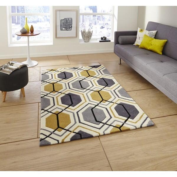 Dywan Flat 90x150 cm, szaro-żółty