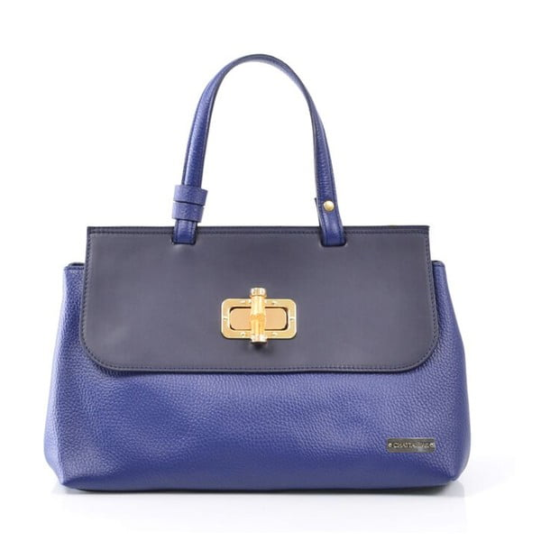 Skórzana torebka Isaure, niebieska