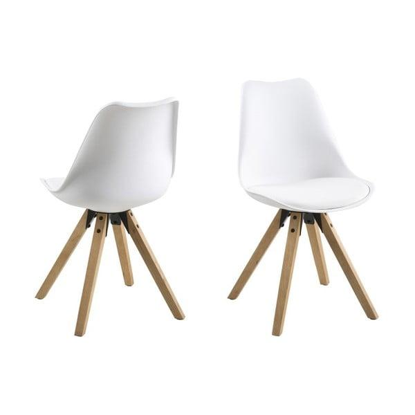 Krzesło do jadalni Dima, białe z drewnianymi nogami