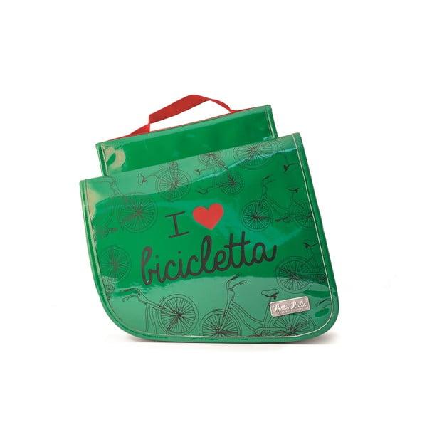 Podwójna torba na rower I ♥ Bicicleta, zielona