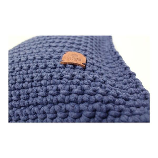 Poduszka pleciona Catness, niebieska, 50x50 cm