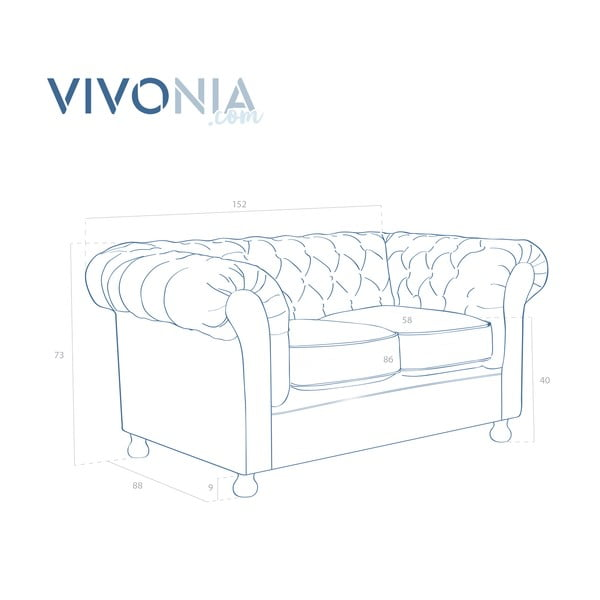 Bordowa sofa dwuosobowa Vivonita Chesterfield