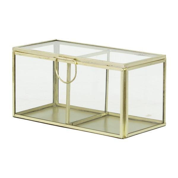 Szklany pojemnik Brass, kremowy