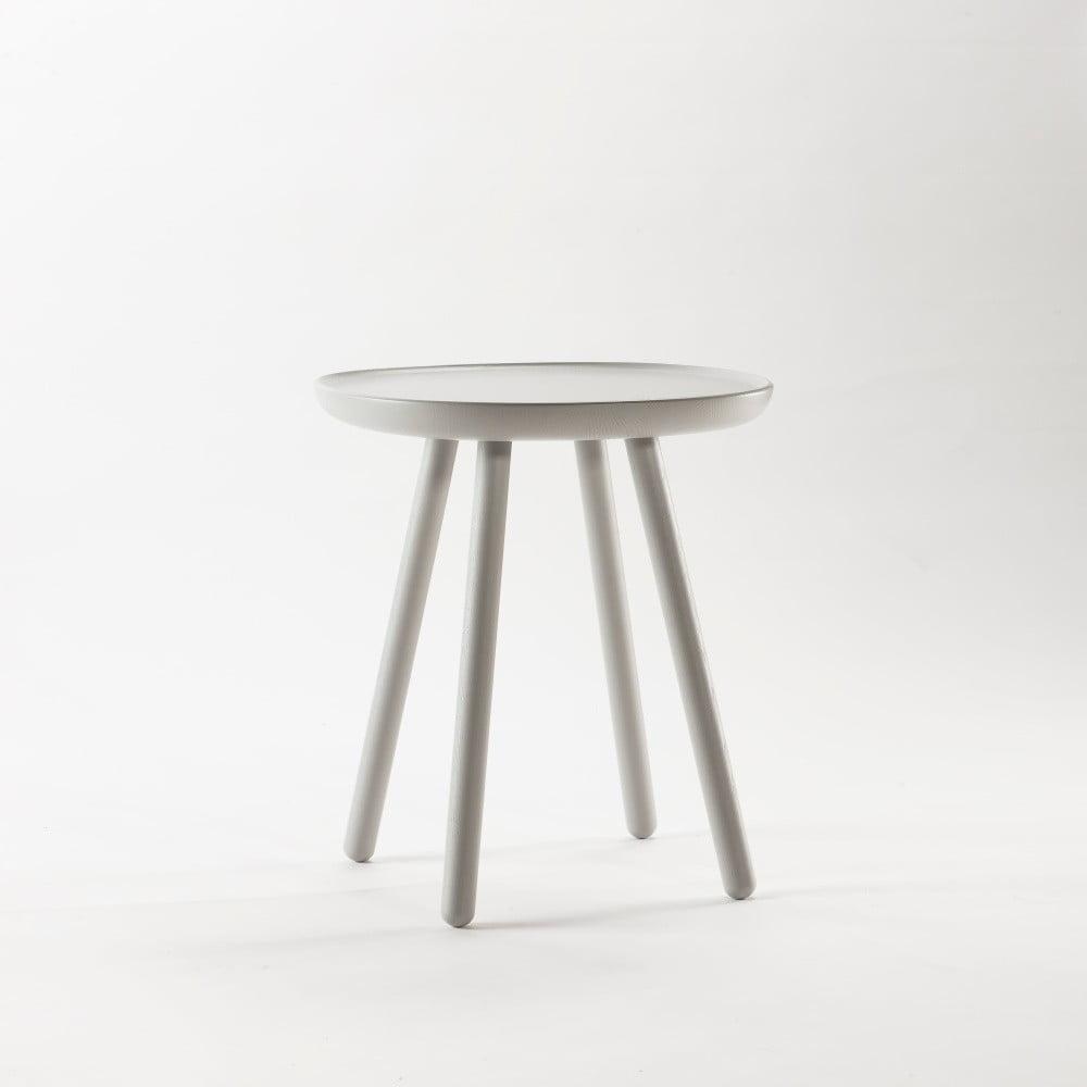 Szary stolik z litego drewna EMKO Naïve Small, ø45cm