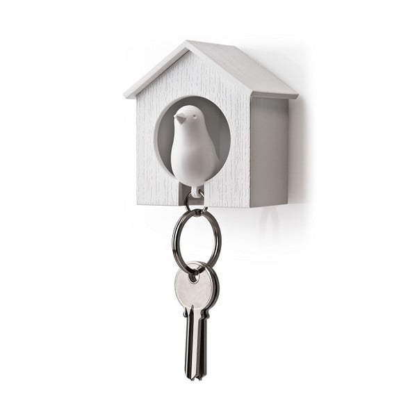 Budka z zawieszką na klucze QUALY Sparrow, biała